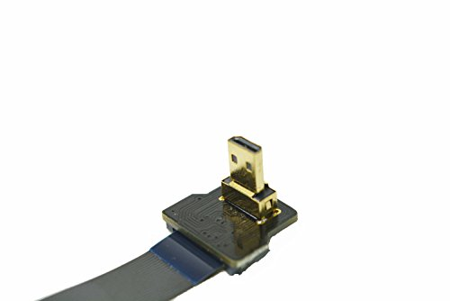 FFC HDMI Slim Flat FPC HDMI FPV HDMI Cable Micro HDMI 90 Degree to Standard HDMI for Gopro Sony Alpha Sony A7SII A7RII A9 A6500 A6300(Reverse Socket of A6000) 60CM Black