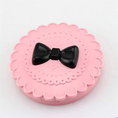 Portable Taille Femmes Arc Mignon Faux Cils Eye Lashes Boîte De Rangement Maquillage Cosmétique Miroir Cas Organisateur - Rose