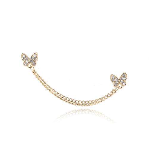 Yhhzw Chains Butterfly Link Stud Earring Clip Ear Rhinestone Earrings For Woman Gold Color Fashion Jewelry Aesthetic Accessorie