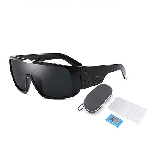 Gafas De Sol Polarizadas, Montura De Plástico Grande para Gafas Cuadradas Y Planas, Adecuadas para Hombres Y Mujeres Que Pescan, Montan Y Conducen,Negro
