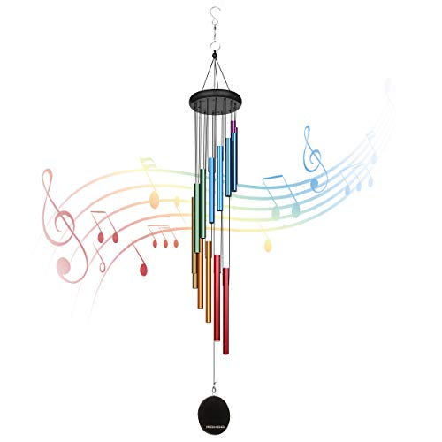 """MOHOO Large Wind Chimes Outside 38.2"""" deep Tone Wind Chimes with 7 Tone Scales Colorful Rainbow Windchime Handmade 14 Aluminum Tubes with 2 Easy-to-Change Sails"""