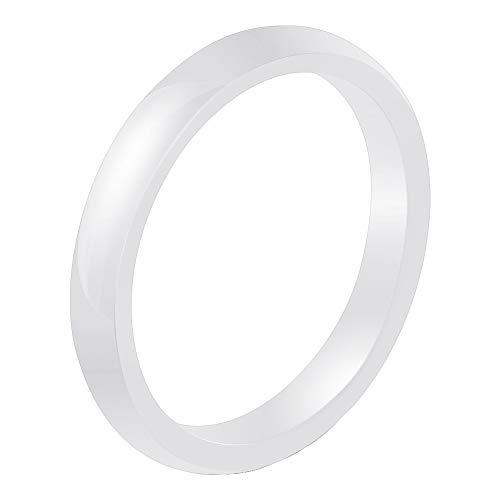 HIJONES Sencillo Moda 3mm Abovedado Flaco Apilamiento Boda Anillo de Cerámica para Hombre Mujer con Ajuste Cómodo Blanco Tamaño 22