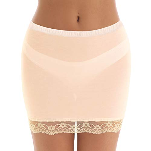 FEESHOW Damen Unterrock Halbrock figurbetonte Underskirt mit Spitzen aus Modal Schmal Lingerie Unterwäsche Schwarz/Hautfarbe/Weiß Hautfarbe Medium