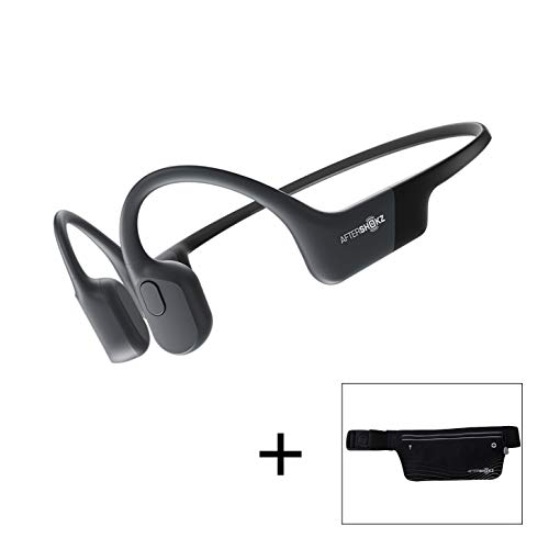 AfterShokz Aeropex Open Ear Wireless Bone Conduction Kopfhörer mit Sportgürtel, Cosmic Black, 2.3