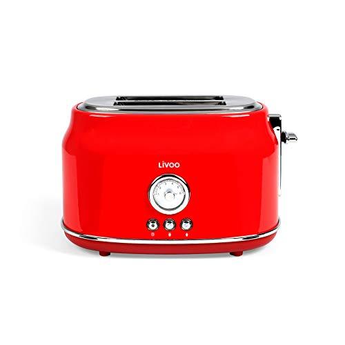Tostadora roja, termostato regulable, 6 niveles, 2 rebanadas (815 W, 2 ranuras para tostadas, bandeja para migas)