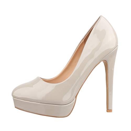 Elara Plateau Pumps Damen High Heels Stiletto Spitz Schuhe C-1 lt.Grey-40