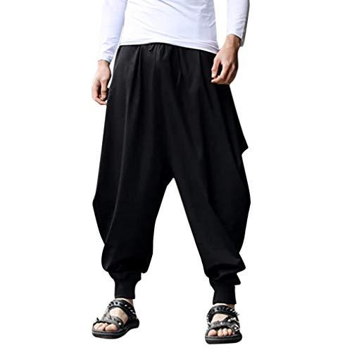 TEBAISE Haremshose Männer Aladinhose Herren Haremshose Herren Pumphose Damen Unisex als Goa Hose und Hippie Hose Stampfgewand(Schwarz,M)