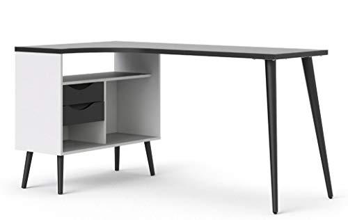 Tvilum Oslo Eckschreibtisch Winkelschreibtisch 145 x 80 cm Winkeltisch Weiß/Schwarz