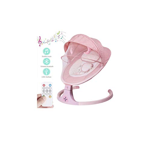 ZXLA Baby Bouncer Chair, Smart Bluetooth Electric Cradle Crib Infant Electric Rocking Chair with Remote Control and Music, 8/15/30 Minutes Third Gear Timing, 5-Point Safety Belt,Pink