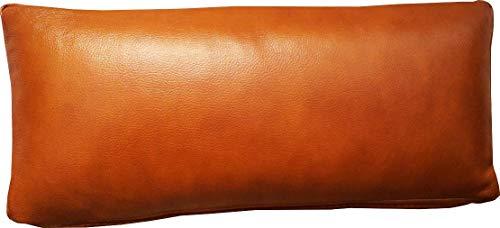 Quattro Meble Cognac Farbe Echtleder Nackenkissen Lederkissen Sofa Dekokissen Rindsleder Kissen Kopfstützen Kopfkissen (22 x 50 cm)