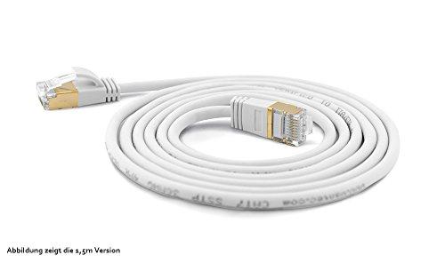 wantecWire Extra dünnes Patchkabel CAT.7 Kabel, CAT.6 Stecker SSTP geschirmt, Länge 0.1 m, weiß