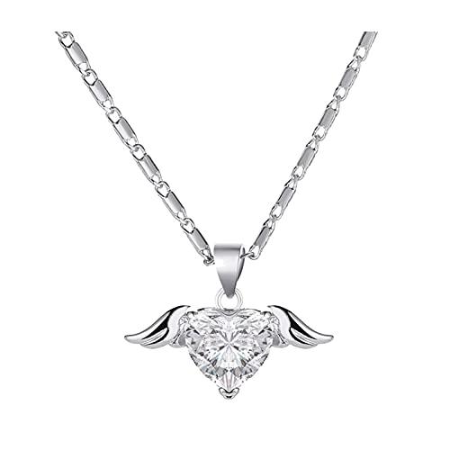 DSJTCH Conjuntos de Collar para Las Mujeres Vintage Metallic Golden Wing Aloje Angel Cadena Lock Collar Joyería de Mujer (Metal Color : Silver)