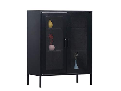 MaximaVida metalen locker vitrine kast Finn 100 x 80 x 40 cm zwart - 2 schappen