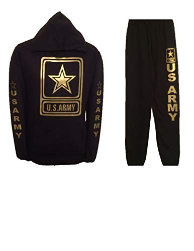 US Army Outfit Hoodie & Sweatpants Sweatsuit Shiny Gold Design (XL)
