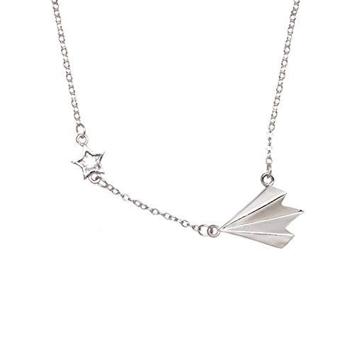 s925 Sterling Silber Mode Papier Flugzeug Halskette weibliche Kindheit Spaß Persönlichkeit hundert Lockbone Kette Schmuck 925 Silber Hauptbild