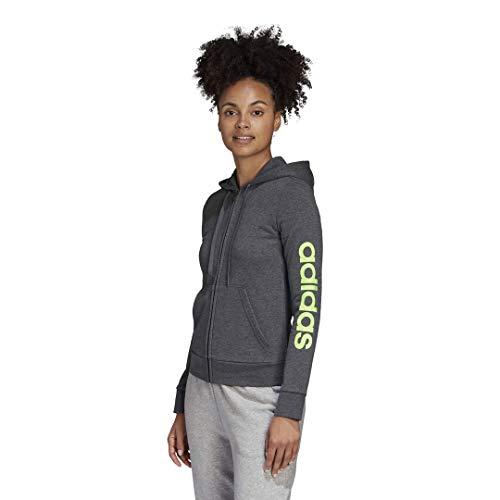 adidas Mujer Essentials Linear Chaqueta con cremallera completa, Gris oscuro/Verde señal, XL