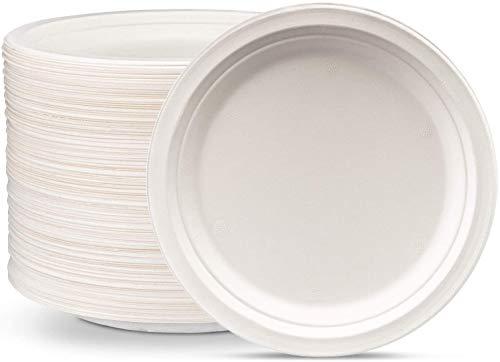 Platos de papel altamente rígidos de 25,4 cm, paquete de 50 unidades, redondos, desechables, ecológicos, resistentes, compostables y biodegradables,