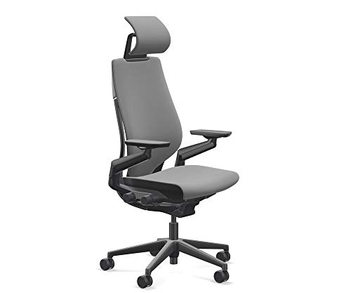 Steelcase Gesture Office Desk Chair with Headrest Plus Lumbar Support Cogent Connect Graphite 5S25 Fabric High Black Frame