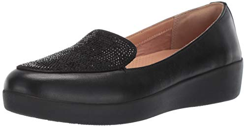 FitFlop Womens Crystal Sneakerloafer Loafer Flat, Black, 10 M US