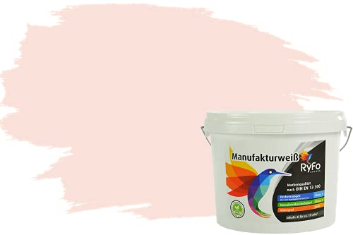 RyFo Colors Bunte Wandfarbe Manufakturweiß Rosenweiß 3l - weitere Weiß Farbtöne und Größen erhältlich, Deckkraft Klasse 1, Nassabrieb Klasse 1