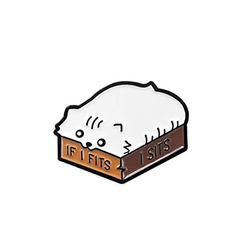 Vektenxi Broschen Cartoon Katze Emaille Englisch Brief, wenn ich passt, sitzt ich Brosche Kragen Abzeichen Dekor hoher Qualität
