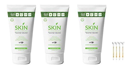 Skin Boomer Naturals Sunscreen - Best Sunscreen 2018 Golf Digest - Editors Choice - Three 3.4 Ounce Tubes Plus If You Are A Golfer - four tees for your next round