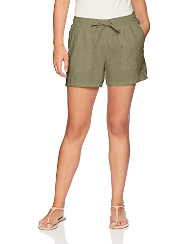 "Amazon Essentials Women's 5"" Drawstring Linen Short, Olive, Large"