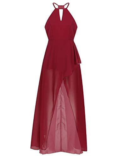 iixpin Vestido Largo de Dama de Honor para Mujer Chicas Vestido Sin Mangas de Gasa para Bodas Ceremonias Vestido Cueloo Halter de Graduacion Vino 18