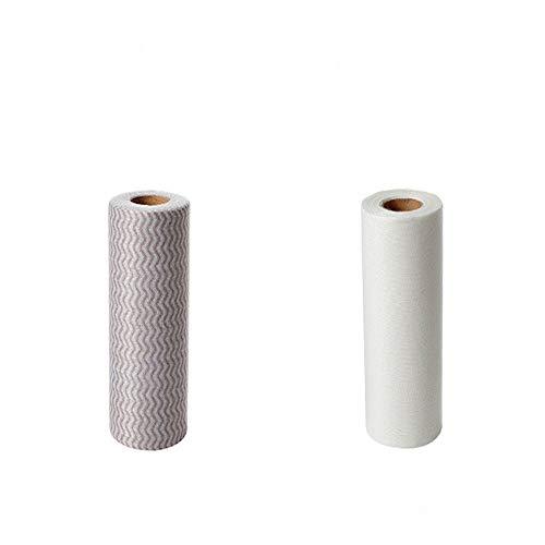 Wegwerp reinigen Rag Keuken Handdoek Absorbens Scouring Pad Antistick Pan Milieuvriendelijk Niet-geweven Draagbare Schoonmaak Handdoek Keukendoek 50 / Roll Wit/Grijs