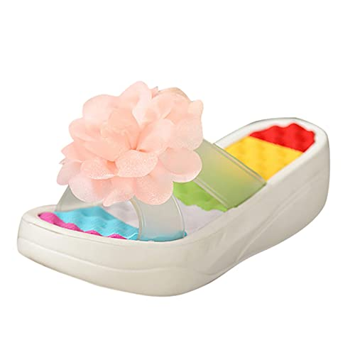 New Simple Outdoor Walking Womens Platform Slippers Indoor Flip Flops No-Slip Fashion Casual Comfortable Home Slippers Flower Swing Wedge Slippers Women Hole Shoes