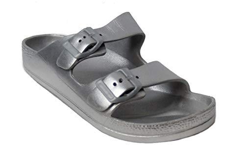 H2K Damen-Sandalen, leicht, bequem, weich, EVA, verstellbar, Doppelschnalle, flach, Silber (silber), 40 EU