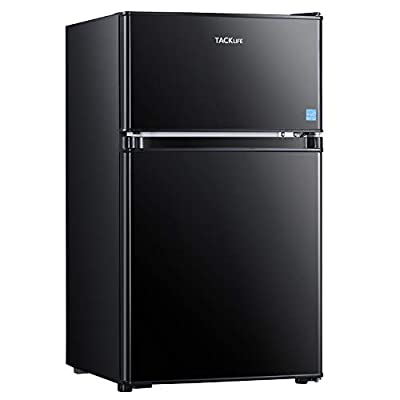 TACKLIFE Compact Refrigerator, 3.2 Cu.Ft, 2-Door Mini Fridge with Freezer, Energy Saving, LED Inside, Low Noise, Upright Fridge suitable for Apartment, Office or Dorm, Black-MPBFD321