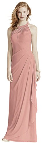 David's Bridal Long Mesh Bridesmaid Dress with Illusion Halter Neckline Style F15662, Ballet, 16