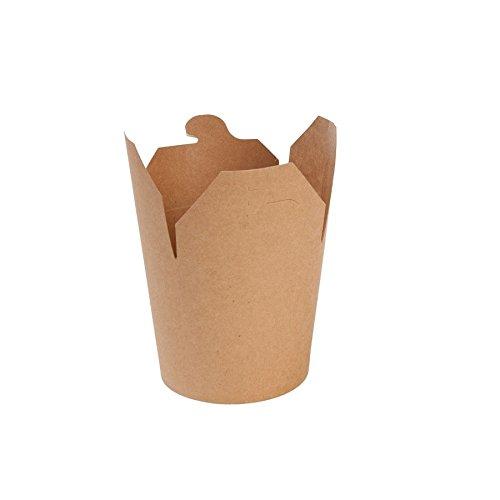 BIOZOYG Nudel-Box Take Away Asia-Box to Go Box Bio Verpackung Nudeln I Kraftkarton Schachtel Bio Food Box mit Faltdeckel und PLA Innenbeschichtung kompostierbar I 50 Nudelboxen Pappe braun 650ml