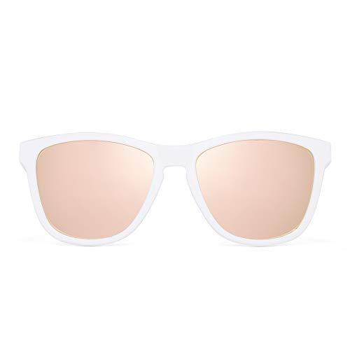 JIM HALO Retro Polarizadas Gafas de Sol Para Mujer Hombre Vintage Cuadradas Espejo Anteojos(Marco Blanco/Lente Rosa Espejo)