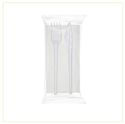 Palucart 500 Set Posate bis Bianco Forchetta, Coltello e Tovagliolo di Carta Posate imbustate Lunghezza Posate 16,5cm