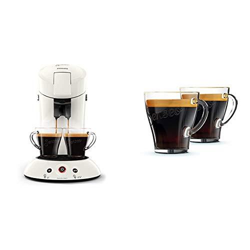 Philips Senseo HD6554/10 Kaffeepadmaschine (Crema Plus, Kaffeestärkewahl) weiß & CA6510/00 Kaffeegläser, 2 Stück