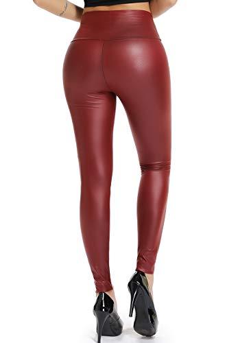 STARBILD Leggings Pelle Donna Sexy Pantaloni PU Collant Vita Alta Push up Jeans Ecopelle Matita Slim Similpelle Basic Moto Stile, A Rosso M