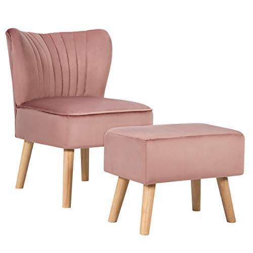 Giantex Velvet Accent Chair with Ottoman, Modern Tufted Upholstered Chair with Footrest, Firm Wood Legs, Leisure Single Club Chair Set for Living Reading Room Bedroom (Pink)