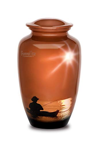 Adult Cremation URNS for Ashes- Adult Classic Fishing Man Pictured Cremation Urn for Human Ashes, Completely Handicrafted with Velvet Protection Bag, Size 10.5' H x 6.25' D with Volume 200 Cu. in.