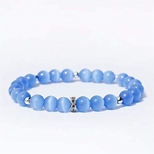 Pulsera de piedra Mujer, 7 chakra perlas de piedra natural azul ópalo elástico brazalete de plata joyería de plata yoga energía equilibrio rezo protección encanto difusor mujeres pulseras regalo JPSOU