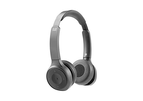 Cisco Headset 730, Wireless Dual On-Ear Bluetooth Headset with Case, USB-A HD Adapter, USB-A and 3.5mm Cables, Charging Stand, Carbon Black, 1-Year Limited Liability Warranty (HS-WL-730-BUNAS-C)