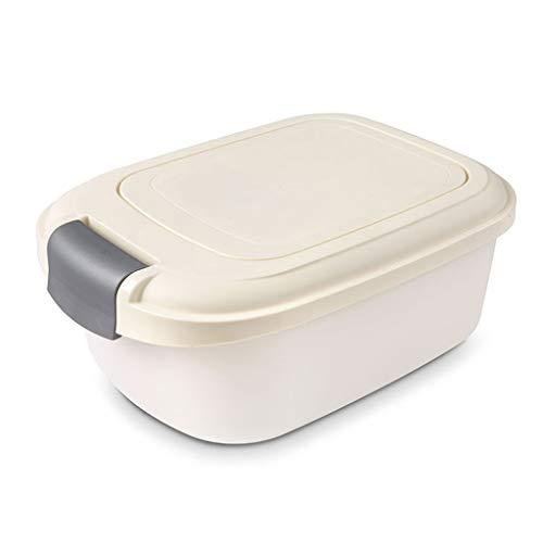 Jlxl huisdier droog voedsel opslag, hondenvoer Bin Container vochtbestendig kat dier vogel zaden Opbergdoos Tub (crème)