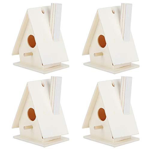HERCHR Casas de pájaros de 4 Piezas para Exteriores, Kits de pajareras Casitas de Madera para pájaros para Pintar y Decorar 5.5X 4X 7.5cm