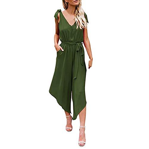 NPRADLA Jumpsuit Jumpsuits Damen Outfit Ärmellose Schulter Bandage Bund V Ausschnitt Overall Mit Gürtel Elegant Einfarbig
