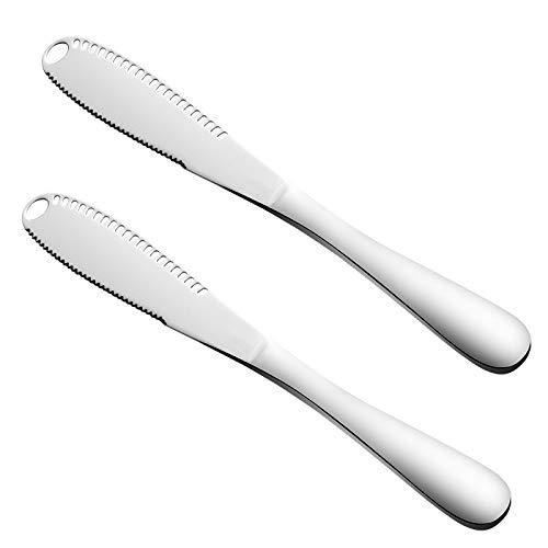 Lot de 2 couteaux à beurre Voloker - Acier inoxydable - Qualité alimentaire 403 - Avec bord dentelé et trous à rpe - Facile à utiliser Silver