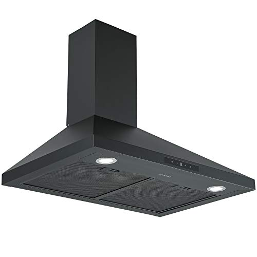 Ancona AN-1570 30 in. Convertible Wall-Mounted Pyramid Range Hood in Matte Black