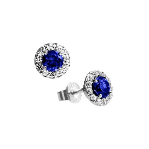 Diamonfire Damen-Ohrstecker 925 Sterling Silber Zirkonia Royal Colours Linie blau 62/1558/1/089