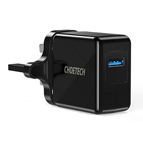 Cargador de pared SmartGek OEM Quick Charge 3.0 18 W USB (compatible con carga rápida 2.0), adaptador de corriente, color negro