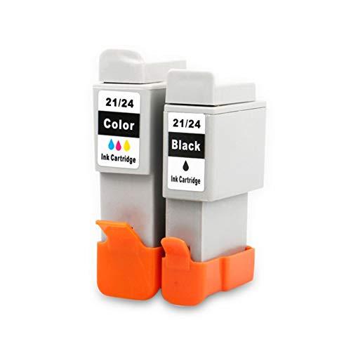BCI-21 BCI-24 - Cartucho de tinta compatible para Canon I250, I255, I320, I350, I355, IP1000, 1 juego de 10 (21/24BK x5, 21/24C x5)